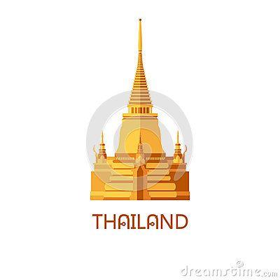 Golden buddhist wat temple in Bangkok Thailand travel landmark vector illustration