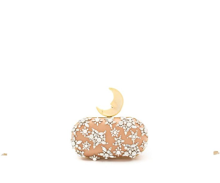 Benedetta bruzziches smiling moon clutch, bridal bag in silk satin embroidered with swarovski crystal stones in nude