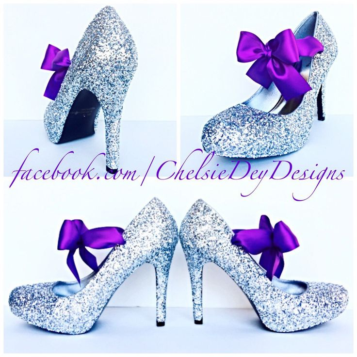 Wedding Glitter High Heels - Silver Pumps - Platform Shoes - Purple Satin Bows - Sparkly Prom Heels - pinned by pin4etsy.com