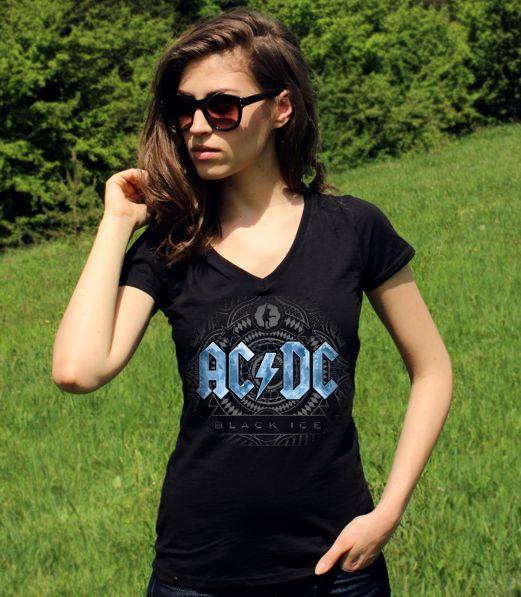 ACDC TShirt Black Ice Blue AC/Dc Shirts Ac Dc Tee Rock by RockSin