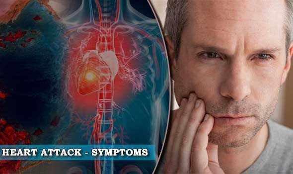 Typical symptoms of heart attack are severe pain behind the sternum. Other heart attack signs are nausea or palpitations.