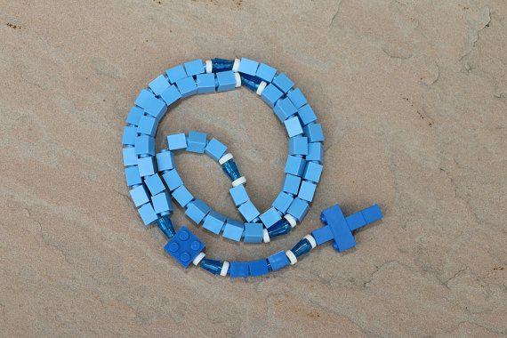 Lego Rosary Blue  White for Baptism First Communion Confirmation Original Designs Our Lady Light Blue Dark USA Canada TS