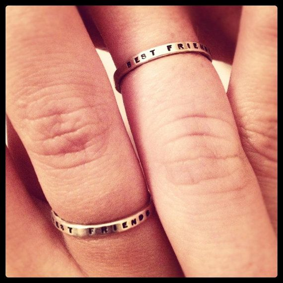 Set of 2 Best Friend Rings  Solid Sterling by boutonrougedesigns