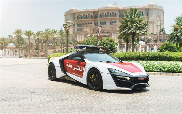 Télécharger fonds d'écran Lykan Hypersport, 4k, Abu Dhabi Police, la Police supercars, voitures de police, les ÉMIRATS arabes unis