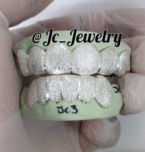 Grillz Dental Grills 152808: Custom Grillz 6 Top Or 6 Bottom Sterling Silver Diamond Dust Style -> BUY IT NOW ONLY: $130.0 on eBay!