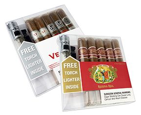 Two Great Samplers; Same FREE Lighter - Whether you select the Romeo y Julieta Reserva Real cigar sampler containing 5 beautifully balanced, expertly handmade cigars or the VegaFina cigar sampler with its fine variety of 5 premium cigars from the VegaFina brand, a FREE triple torch flame cigar lighter is included. Great gift ideas for under $40 can't be beat we always say [we don't really always say that, but it is true].