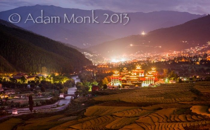 Thimpu Valley lights, Bhutan. Photography tour of Bhutan with Adam monk