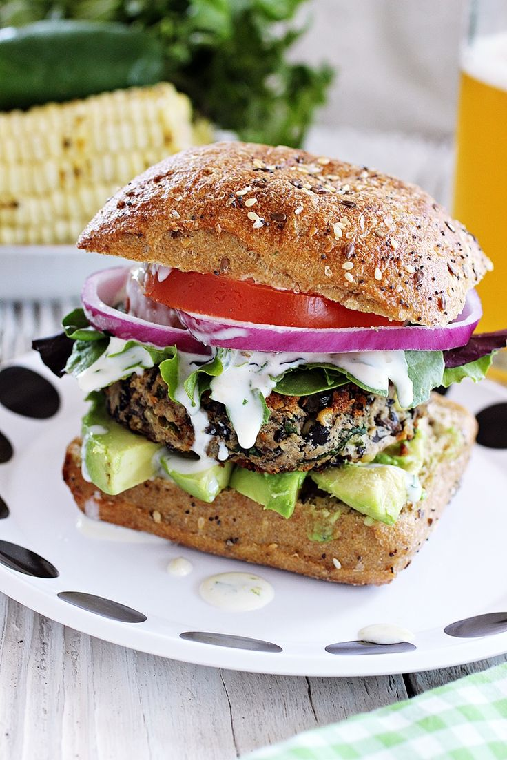 Black Bean Burgers with Cilantro Lime Sauce