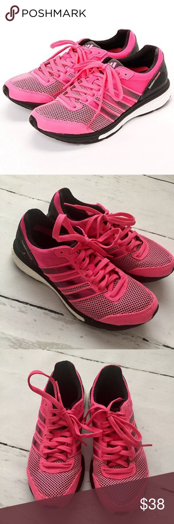 Adidas Adizero Boston Boost Sneakers Adidas Adizero Boston Boost Sneakers in Black and Hot Pink! Excellent Condition! Size 6 adidas Shoes Sneakers