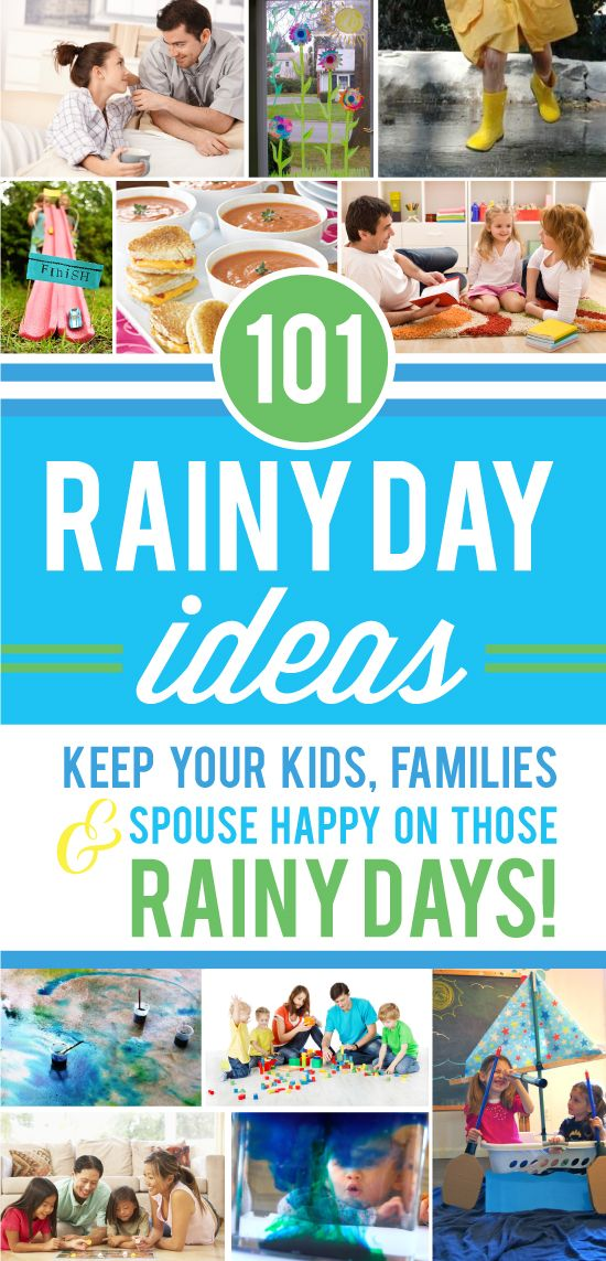 A unique list of Rainy Day ideas that will keep kids busy, families entertained and the romance alive during those Rainy Spring Days!