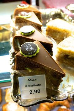 Mozart cake at Cafe Schwarzenberg, Vienna Austria.
