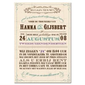 Trouwkaart: Vintage Kaart (Groot Formaat)