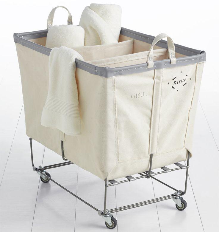 6 Bushel Canvas 3 Section Laundry Bin Laundry Bin Laundry Room