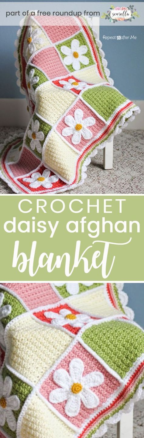 Crochet this easy beginner daisy applique afghan baby blanket from Repeat Crafter Me from my best free crochet baby blankets for girls roundup!