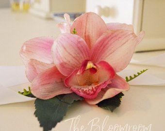 Ramillete de boda rosa / orquídea corsage o rosa orquídea / corsage pulsera / ramillete de Dama de honor / Formal ramillete / corsage Wristlet / ramillete