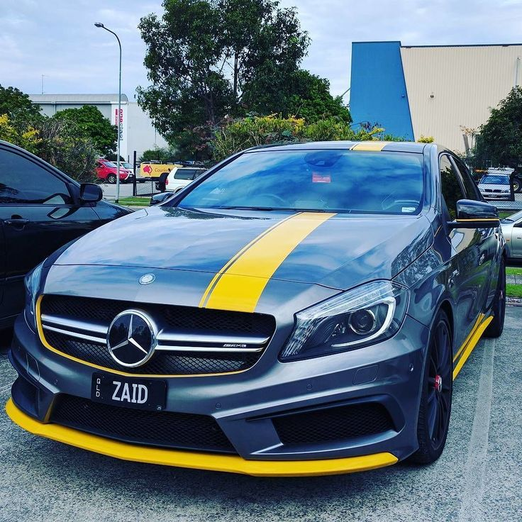 Beautiful yellow stripe wrap on this #mercedes AMG a45. Great work by @wrapcity_au #MakeitStick #PaintisDead