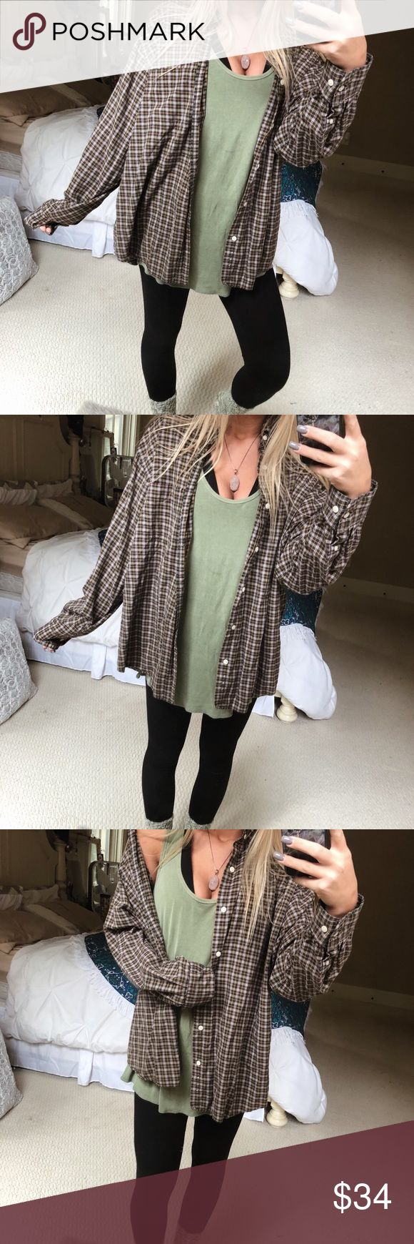 aliyah cozy boyfriend flannel super comfy! pair it with your favorite tee + leggings 🌝 fits a med-large 🌄 — * all offers 100% welcomed + encouraged * bundle for a private discount of at least 20% off  * orders guaranteed to ship within 1-2 days unless stated otherwise * ask me any questions if you ever have any! xo Tops Button Down Shirts