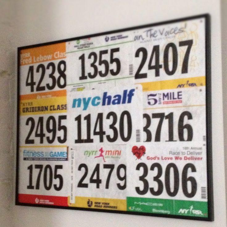 Great way to display 9 + 1 #NYRR #Marathon training bibs