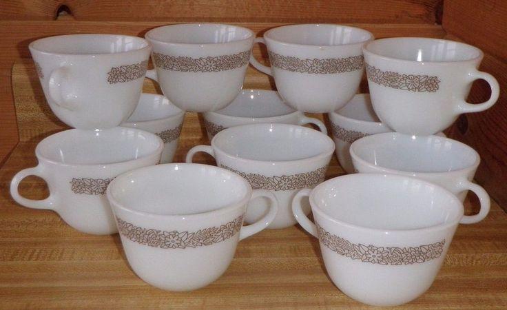 12 Corelle Corning PYREX Coffee Mug Tea Cup WOODLAND BROWN Restaurant Milk Glass #CorelleCorningPYREXWOODLANDBROWN