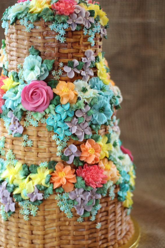 Bright floral basket buttercream wedding cake by Emma Page Cakes London www.emmapagecakes.co.uk