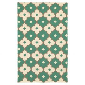 Hand-woven New Zealand wool rug with a geometric tile motif.   Product: RugConstruction Material: New Zealand wool Color: EmeraldFeatures: Hand-wovenNote: Please be aware that actual colors may vary from those shown on your screen. Accent rugs may also not show the entire pattern that the corresponding area rugs have.Cleaning and Care: Vacuum and spot clean as needed. Do not use a beater bar.