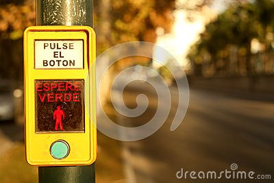 Street technology. Access button for crossing the road! Green button. Street furniture