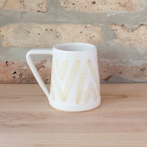 Boho White & Yellow Mug by Barombi Studios on Gourmly