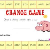 Australian money and coin boardgame. Students work out the change from a starting amount. Teacher Brain website
