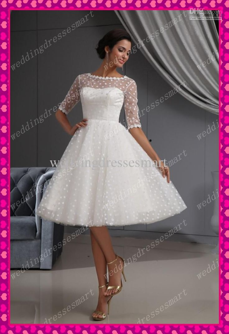 Wholesale Cheap 1/2 Long Sleeve 2013 Spot Tulle A-Line Bateau Knee Length Party Short Beach Wedding Dresses, Free shipping, $126.56-149.99/Piece | DHgate