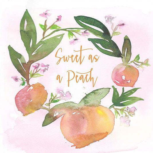 Tulip Magnolia Design. Sweet as a peach watercolor print. Girl nursery. Peach birthday party.