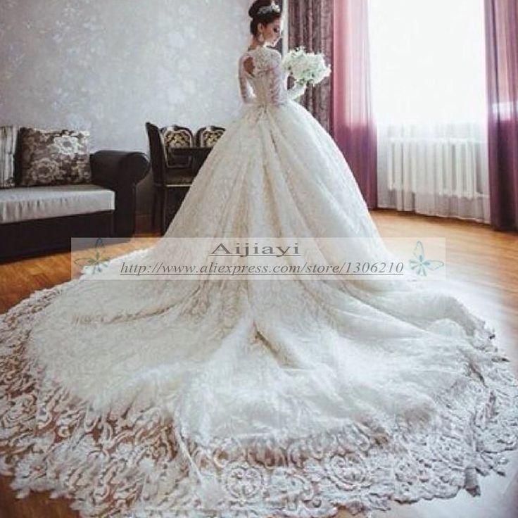 Famoso Designer de vestidos de noiva outono de manga comprida vestido de baile romântico real vestidos de noiva com longa YY364 em Vestidos de noiva de Casamentos e Eventos no AliExpress.com   Alibaba Group