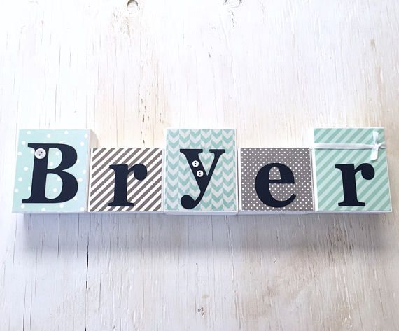 Boy's Name Blocks  Baby Boy Blocks Nursery Room Decor
