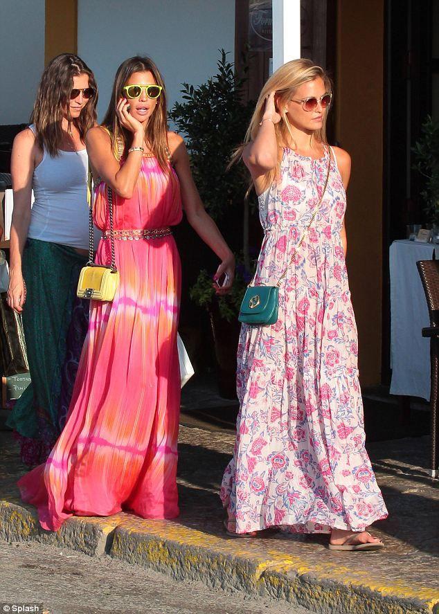 Matching styles: Bar Refaeli and Claudia Galanti go shopping in Ibiza
