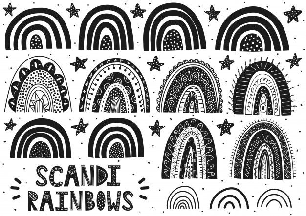 45++ Pastel rainbow clipart black and white ideas