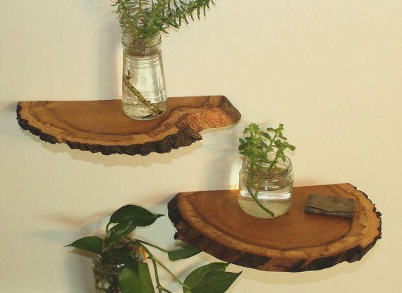 Shelves Wood Slab Shelves Wood Shelf Natural Wood by TimberRebirth
