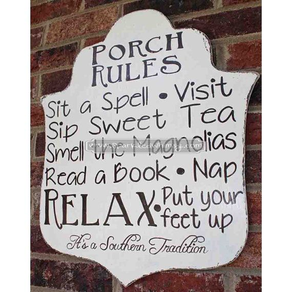 Southern Tradition Porch Rules Distressed Sign by SparkledWhimsy, $35.00
