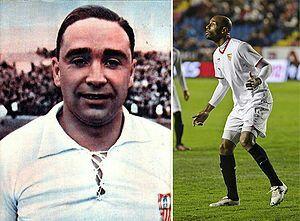 Campanal I y Frédéric Kanouté , el máximo goleador de la historia del Sevilla fc y el máximo goleador del Sevilla fc del siglo xxI respectivamente