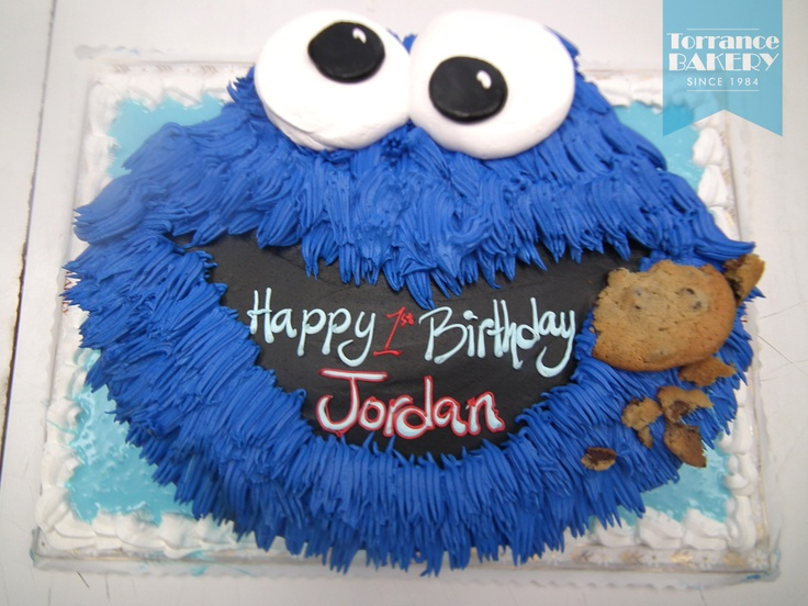 Cookie Monster cutout cake - complete with cookie! :)
