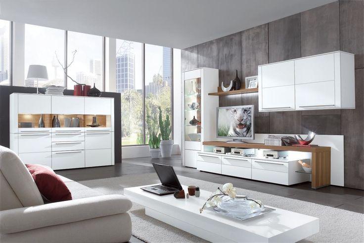 moderne GWINNER Wohnwand seidenmatte weiße Lackoberflächen - kleine küche tipps