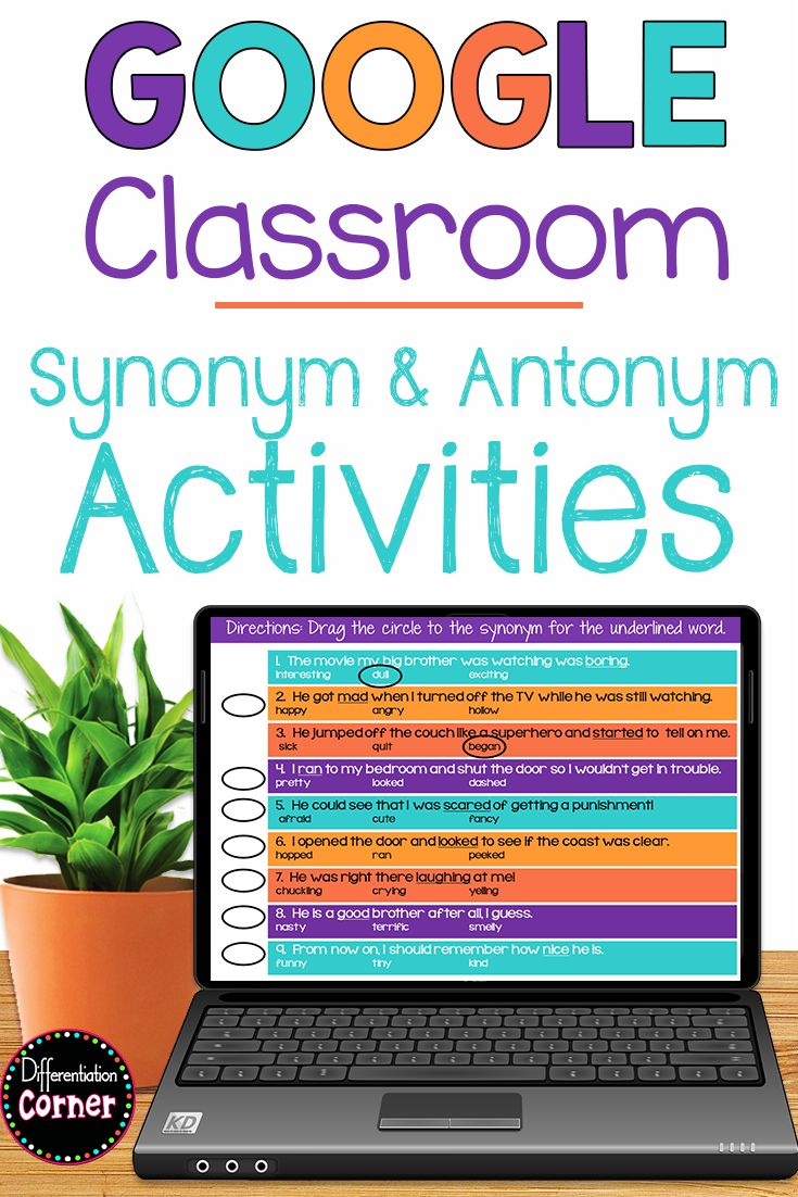 Synonym And Antonym Activities For Upper Elementary Students Printable Worksheets And A Google Classr Synonym Activities Teaching Synonyms Antonyms Activities