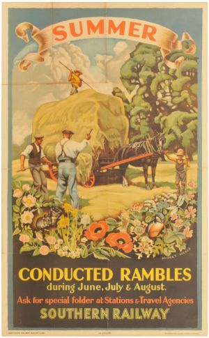 A Southern Railway double royal poster, SUMMER CONDUCTED RAMBLES, by Audrey Weber railway poster