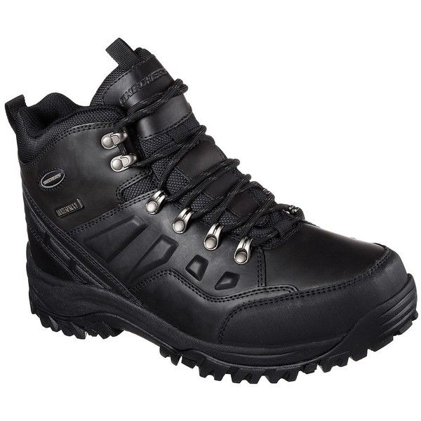 Skechers Men's Relaxed Fit: Relment - Traven Black - Skechers ($85) ❤ liked on Polyvore featuring men's fashion, men's shoes, black, mens black shoes, mens waterproof shoes, skechers mens shoes, mens rugged shoes and mens shoes