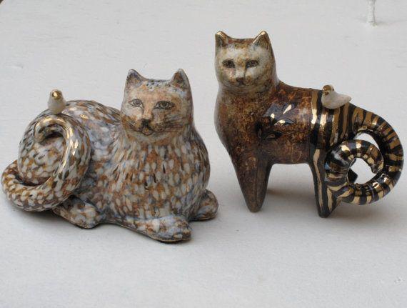 Cat figurines by Margaret Wozniak