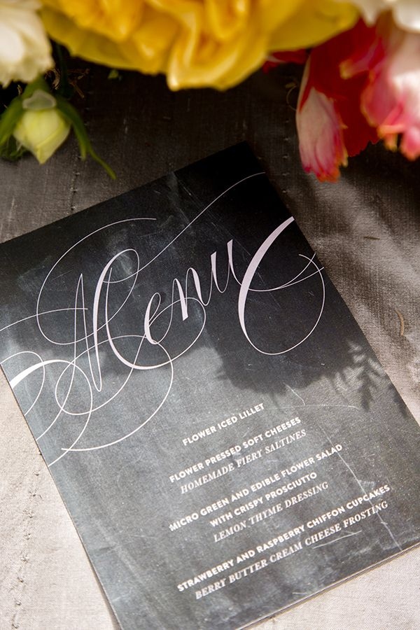 She'd love the palette-- clean black and white, with bright yellow -- and the font choices. Classic, elegant, traditional, but a bit special. Emma J Design Menu Card