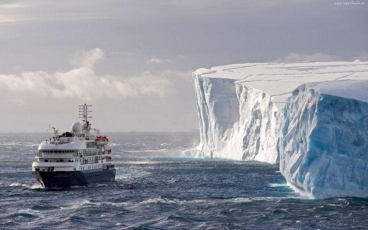 Antarktyda, Góry, Lodowe, Statek, Pasażerski