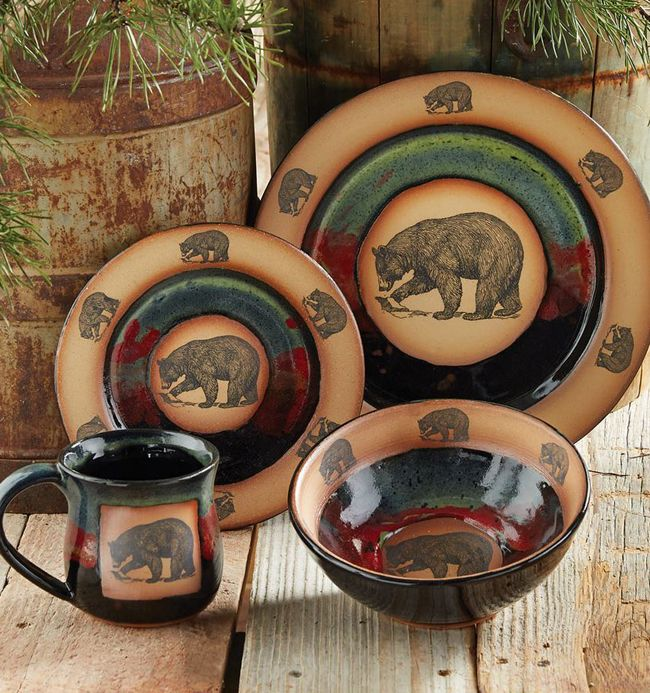 Forest Bear Pottery Rustic Decor Log Home Living