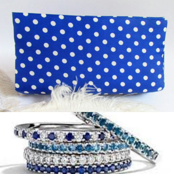 Blue Polka Dot Purse Colorful Clutch Modern by ICreationsBoutique