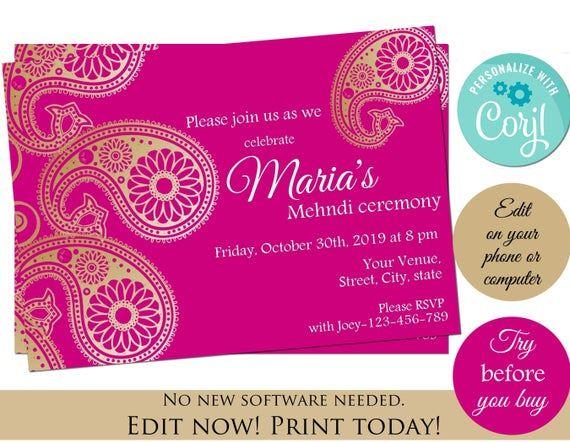Mehndi Invitation Template Instant Download Invitation Corjl Etsy Invitation Template Indian Invitations Mehndi Party