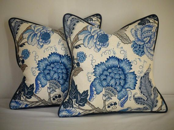 If you want to add some life as well as sophistication to your room, these cushions with beautiful blue and cream colors, very stunning pattern and nice soft feel to them are what you need! The main fabric is a linen rayon print piped and backed in a soft and smooth dark slate grey