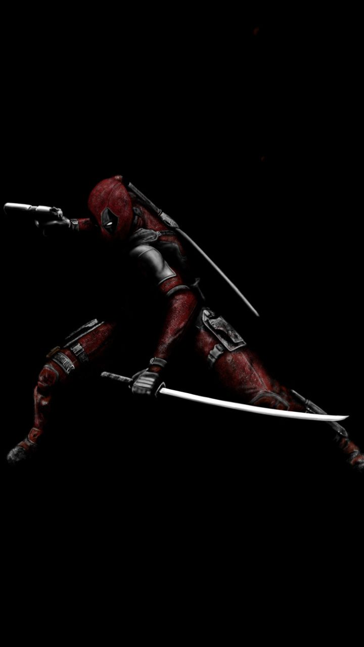Deadpool With Swords Minimal Superhero Dark Art Wallpaper